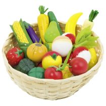 Set din lemn - Fructe si legume in cos jucariidezece.ro